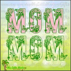 Mother's Day Flourished Mom Title Design Digital Clipart & Cut File Instant Download Jpeg Png SVG EPS DXF Formats - pinned by pin4etsy.com