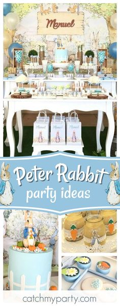 Don't miss this gorgeous Peter Rabbit birthday party. The birthday cake is so beautiful!! See more party ideas and share yours at CatchMyParty.com #partyideas #catchmyparty #peterrabbit #beatrixpotter