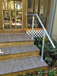 Railing pipe stair railing diy railing railings outdoor staircase to show you can build your own deck railing here are eight customers examples to help inspire you solutioingenieria Choice Image