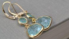 Ernite and Mint Green Framed Glass  Earrings, Gold Fill Lever Back, Synthetic Frame Gemstone, Bridesmaid Earrings