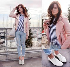 1. JEANS, M2F BY REVOLVE, HTTP://WWW.REVOLVECLOTHING.COM/M2F-SKINNY-IN-ISLAND-BLUE/DP/M2F-WJ1/?&SOURCE=TIEBOW&UTM_SOURCE=RUSSIA&UTM_MEDIUM=BLOGGERPOST-TIEBOW&LANG=RU 2. PINK JACKET, STRADIVARIUS, HTTP://RSTYLE.ME/N/FESGYQGWW 3. STRIPE TEE, ZARA, HTTP://RSTYLE.ME/N/E957IQGWW 4. SHOPPER BAG, ZARA, HTTP://RSTYLE.ME/N/FESU6QGWW 5. WHITE BROGUES, BRASKA, HTTP://RSTYLE.ME/N/FESM2QGWW