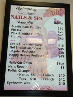 Our menu with a brief listing of our services including manicures, pedicures, waxing, and more! - Sea's Allure Nails & Spa in Destin, FL.