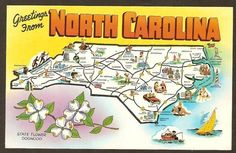 North Carolina Map Postcard