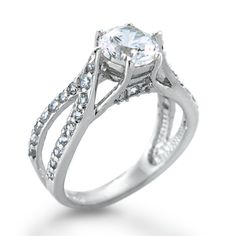 Sterling Silver CZ Diamond Vintage Engagement Ring