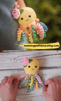 For Beginners Videos Amigurumi EASY CROCHET PATTERN Octopus. This crochet pattern contains a detailed description of how to create Baby Octopus, with a great amount of step-by-step photos and a list of necessary materials. Octopus Crochet Pattern, Crochet Patterns Amigurumi, Knitting Patterns, Crochet Dolls, Cute Crochet, Crochet Baby, Bead Crochet, Crocheted Jellyfish, Baby Octopus
