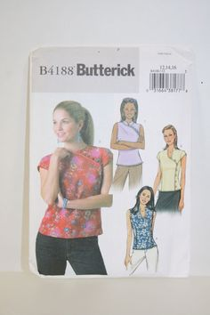 Butterick Sewing Pattern B4188 - Misses Semi-Fitted Lined Top  - Sz 12-16 #Butterick #Top