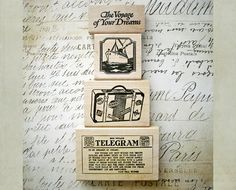 4 Rubber Stamps Travel Theme Tin Can Mail Wood di RememberMeEmily,
