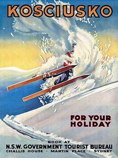 Kosciusko, Australia. Vintage ski poster. http://venusvalentino.com.au/collections/snow-business/products/venus-valentino-art-print-skiing-kosciusko-nsw-vintage-auustralian-travel-posters-canvas-prints-tv804
