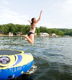 Jumping into the Lake from a water trampoline.