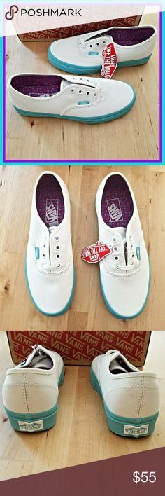White and Aqua Pop Dots Authentic Vans Pop Dots Authentic Vans. PERFECT Spring shoe! Women's 7.5.  Brand new with box. Vans Shoes Sneakers