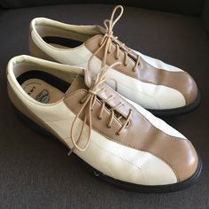 Callaway CG Sport Leather Golf Shoes Callaway CG Sport Tan & White Leather Women's SZ 10 Golf Shoes with changeable soft spikes. Worn only twice. EUC. Callaway Shoes