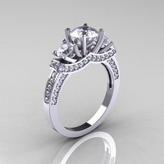 French Platinum Three Stone Engagement Ring I love the look from the side