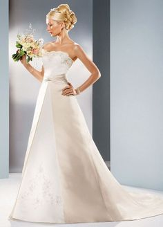 David's Bridal Wedding Dress: Satin A-linegown with beaded lace Style T8580 -          Simple elegance in a flattering silhouette. Satin A-line gown features split front skirt with gathered waist. Beautifully beaded lace accents the strapless scallop