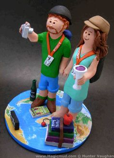 Traveller's and Backpacker's Wedding Cake Topper, Selfie Wedding Cake Topper,      Backpacking and Traveller's Wedding Cake Topper, custom created for you! Perfect for the marriage of a Travelling Groom and his Bride!    $235   #magicmud   1 800 231 9814   www.magicmud.com
