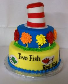 Cat in the Hat themed cake I love this cake.  So much fun!!