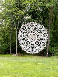 New York artist Jennifer Cecere has created a kind of lace with the over-sized ornamental cobweb.