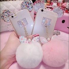 Kawaii Pom Pom pink iPhone 6 Plus case Adorable bunny pink tail and minny mouse ears iPhone 6 Plus case. Kawaii . Crystal gem ears with gold accents . Brand new. Will ship this one within 24 hours of purchasing.(looks exactly like first picture, my picture doesn't give this one justice) soooo cute Accessories Phone Cases