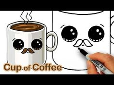 How to Draw a Cartoon Cup of Coffee Cute and Easy
