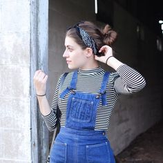 How to wear a bandana like a French girl with overalls.