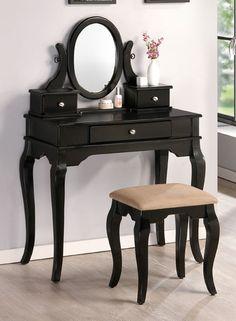 2PC Bedroom Makeup Vanity Table Set With Vanity Stool, Mirror And Storage Drawers In Black Wood Finish. (Item# Vista Furniture PD4062)