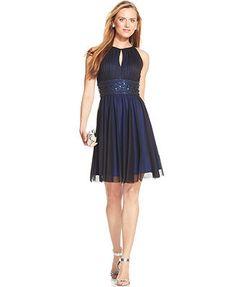 Jessica Howard Sleeveless Keyhole Embellished Dress. macy