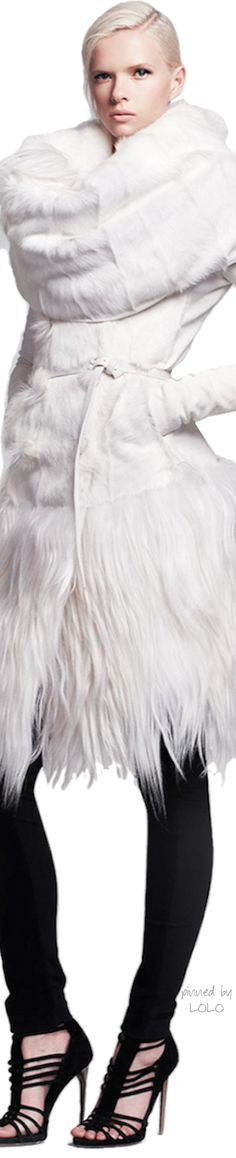 Donna Karan Long Belted Goat Fur Jacket♔PM