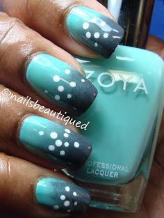 Gradient and Dots Nailart #nails