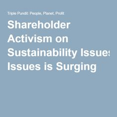 Shareholder Activism on Sustainability Issues is Surging