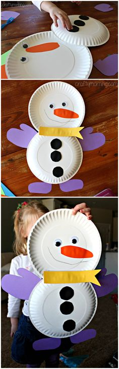 Cute Paper Plate Snowman Craft for Kids