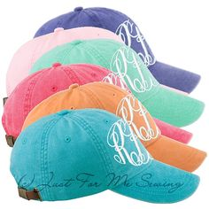 Monogrammed Baseball Hat  Personalized by JustForMeSewing on Etsy, $16.99....love these colors!!! NEED!