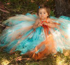 Pixie tutu dress -Orange and aqua-