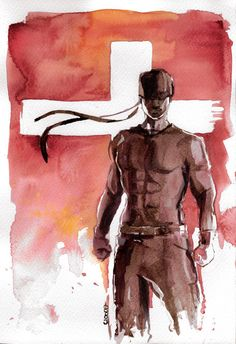 Original Watercolor - Daredevil - Matt Murdock - Charlie Cox - 21 x cm Daredevil Matt Murdock, Johnlock, Destiel, Daredevil Art, Netflix, Future Wallpaper, Illustrations, Sherlock, Impressionism