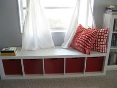 IKEA - bookshelf turned sideways for a window seat.