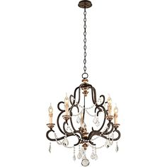 """Bordeaux 27 1/2"""" Wide Parisian Bronze Chandelier (1 435 AUD) ❤ liked on Polyvore featuring home, lighting, ceiling lights, brown, bronze lamp, bronze chandelier lighting, brown lamps, beaded lamp and brown chandelier"""