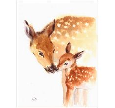 Mother and Baby Deer  Original Watercolor Painting 9x12