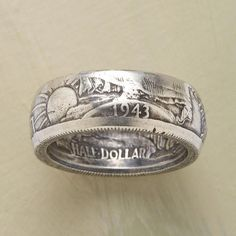 """WALKING LIBERTY HALF DOLLAR RING -- Handmade from a vintage coin, this ring still shows the original design, including the date and the word """"liberty."""" Dates will vary from 1916 to Made in the USA. Whole and half sizes to Coin Jewelry, Jewelry Rings, Silver Jewelry, Jewelry Accessories, Mens Silver Rings, Jewellery, Handmade Rings, Handmade Jewelry, Unique Jewelry"""