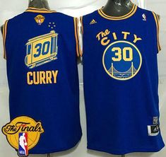 Warriors  30 Stephen Curry Blue Throwback The City The Finals Patch Stitched  NBA Jersey Basketball d720675f9