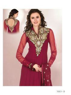Maroon dress with neck patterns