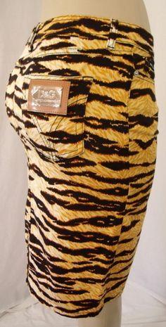 NWT Sz 28 DOLCE GABBANA Animal Tiger Print SEXY Stretch Cotton Skirt WOW 6 8 ? | eBay