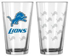 Detroit Lions Satin Etch Pint Glass Set