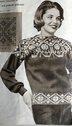 Genser eller kofte Double Knitting Patterns, Knit Patterns, Filet Crochet, Knit Crochet, Norwegian Knitting, Fair Isle Pattern, Fair Isle Knitting, How To Purl Knit, Vintage Knitting