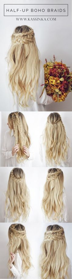 Neem een kijkje op de beste haarstijlen in de foto's hieronder en krijg ideeën voor uw fotografie!!! Half-Up Boho Braids | 17 Stunning Braided Hairstyles So Easy You Can Actually Do… Image source