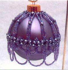 Purple Ornament Cover Pattern - Bead Patterns by Michelle Skobel Purple Christmas, Noel Christmas, Christmas Baubles, Holiday Ornaments, Handmade Christmas, Christmas Berries, Coastal Christmas, Beaded Ornament Covers, Beaded Ornaments