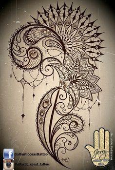 Beautiful tattoo idea design for a thigh, mandala lotus tattoo, by dzeraldas jerry kudrevicius, Atlantic Coast tattoo. Lace, patterns, lotus, mandala, ornamental tattoo design