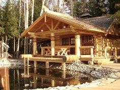 Have you ever thought about building a log home? Log homes and log cabins have been around for centu . Gazebo On Deck, Live Edge Furniture, Cabins And Cottages, Log Cabins, Mountain Cabins, Timber House, Cabin Plans, Log Homes, Tiny Homes