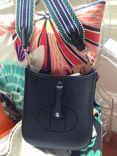 cd222eeedb38 Hermes Leather Bag Mini Evelyne in Black Taurillon Clémence NIB with  receipt in Clothing
