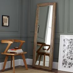 Parsons Floor Mirror - Natural Solid Wood | west elm mirror, small apartments, wall color, grey wall, master bedrooms, natural wood, small spaces, west elm, small space solutions