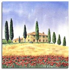 Print of watercolour painting of Tuscany, by artist Lesley Olver Watercolor Pictures, Watercolor Artists, Watercolor Landscape, Watercolor Paintings, Tuscany Landscape, Italy Art, Building Art, Sketch Painting, Painting Inspiration
