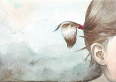 Original watercolor painting Little Girl's Pig Tails