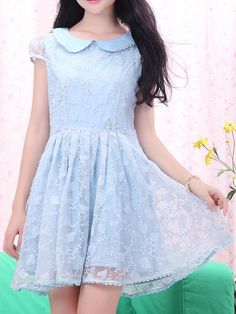 $16.87 Sweet Peter Pan Collar Short Sleeve Solid Color Organza Dress For Women